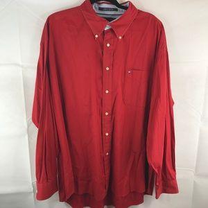 Tommy Hilfiger Red Dress Shirt 2XL XXL Button Down